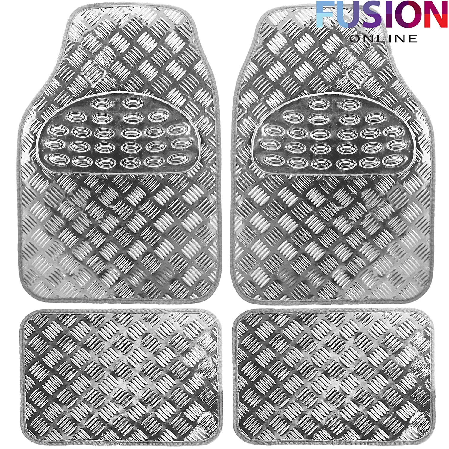 4PC Heavy Duty Alloy Checker Chrome Plate Mat Aluminium Effect Car Mats Set Van (Fusion) (TM) (Silver)