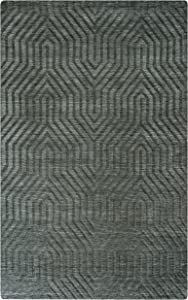 Rizzy Home Technique Collection Wool Area Rug, 8' Round, Gray/Charcoal Solid