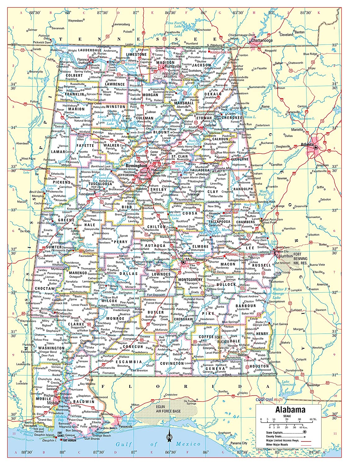 Amazon.com : Cool Owl Maps Alabama State Wall Map Poster ...