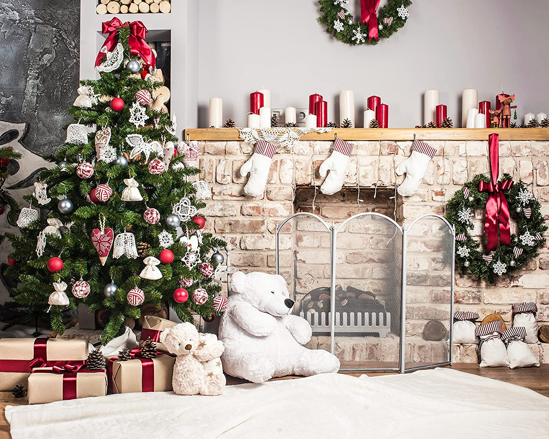 Kate 10x6 5ft Christmas Backdrop For Photography White Brick Fireplace Bear Christmas Tree Santa Backgrounds