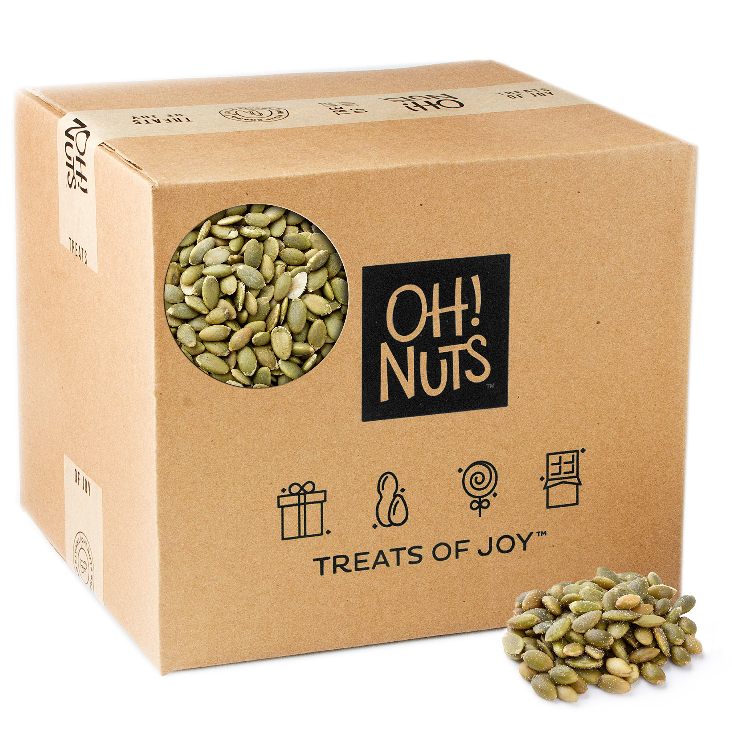 Pumpkin Seeds Raw Healthy Snack - Pepitas No Shell Unsalted High Proteins - Oh! Nuts ... (25 LB Case)