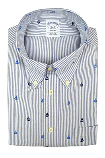 c570edbe100c Brooks Brothers Men's Regent Fit Sailboat Print Button Down Shirt Blue White  Striped (X-