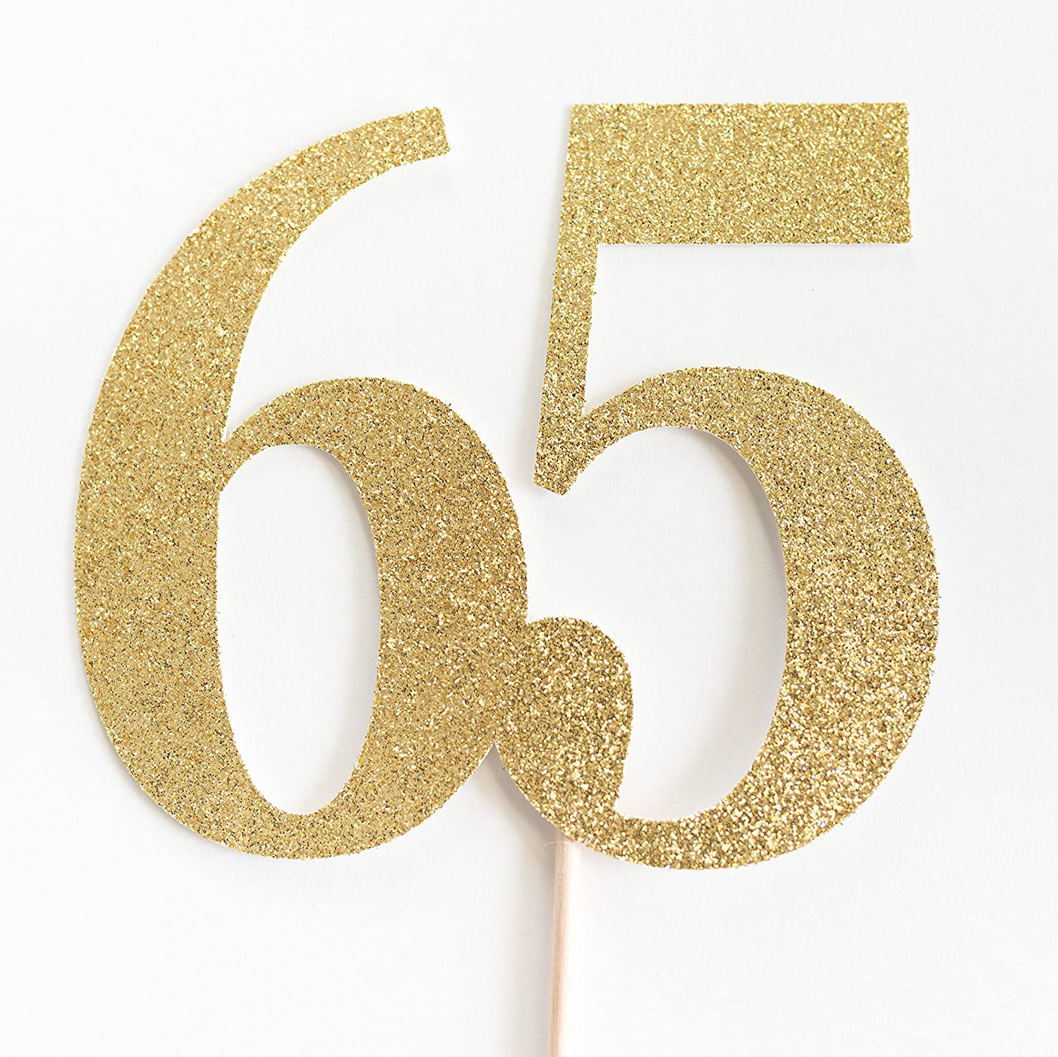 Gold Glitter 65 Cake Topper, 65th Anniversary, sixty fifth Birthday, sixty five
