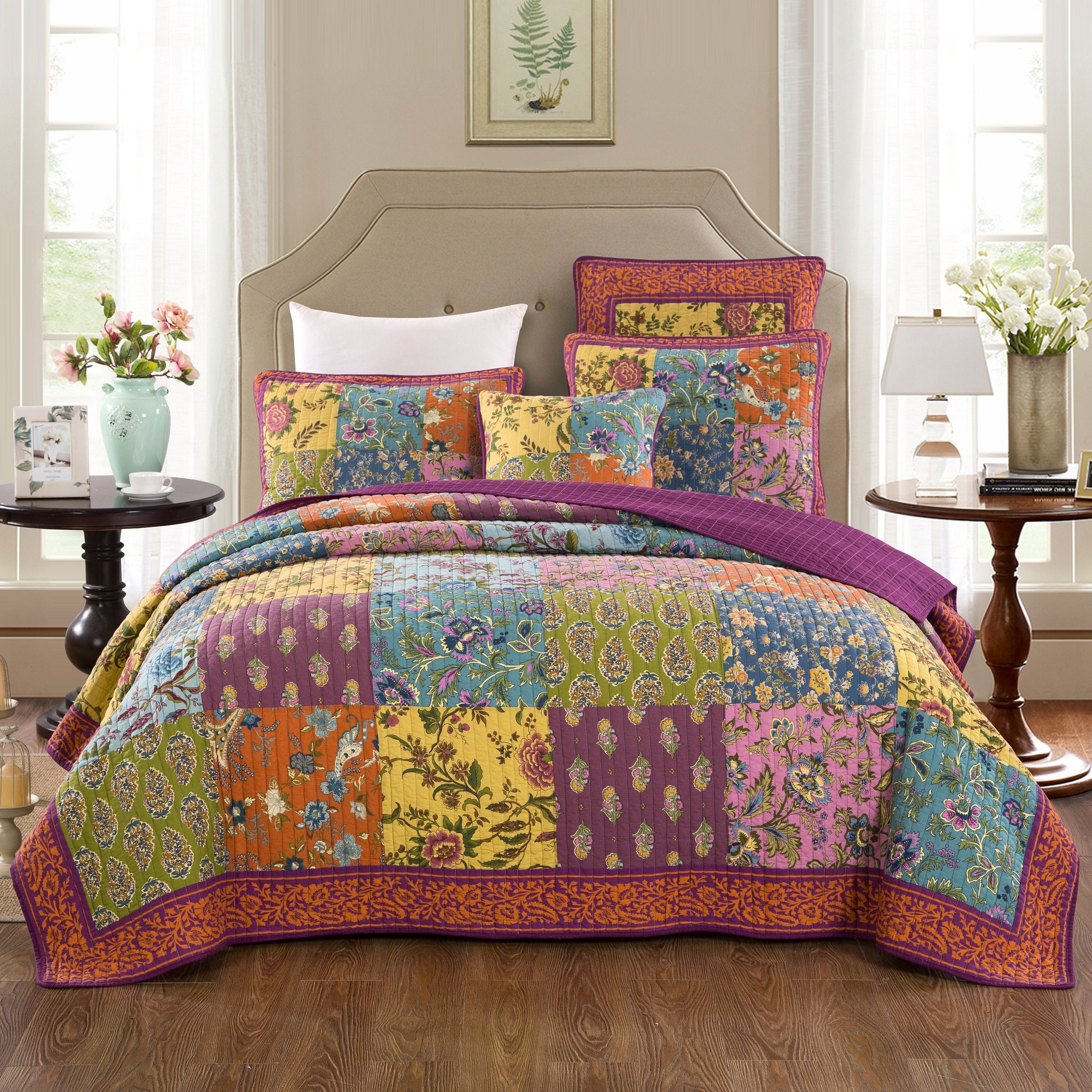 Tache Home Fashion Bohemian Carnival Garden Patchwork Quilted Coverlet Bedspread Set - Bright Vibrant Multi Colorful Orange Purple Floral Print - Full - 3-Pieces