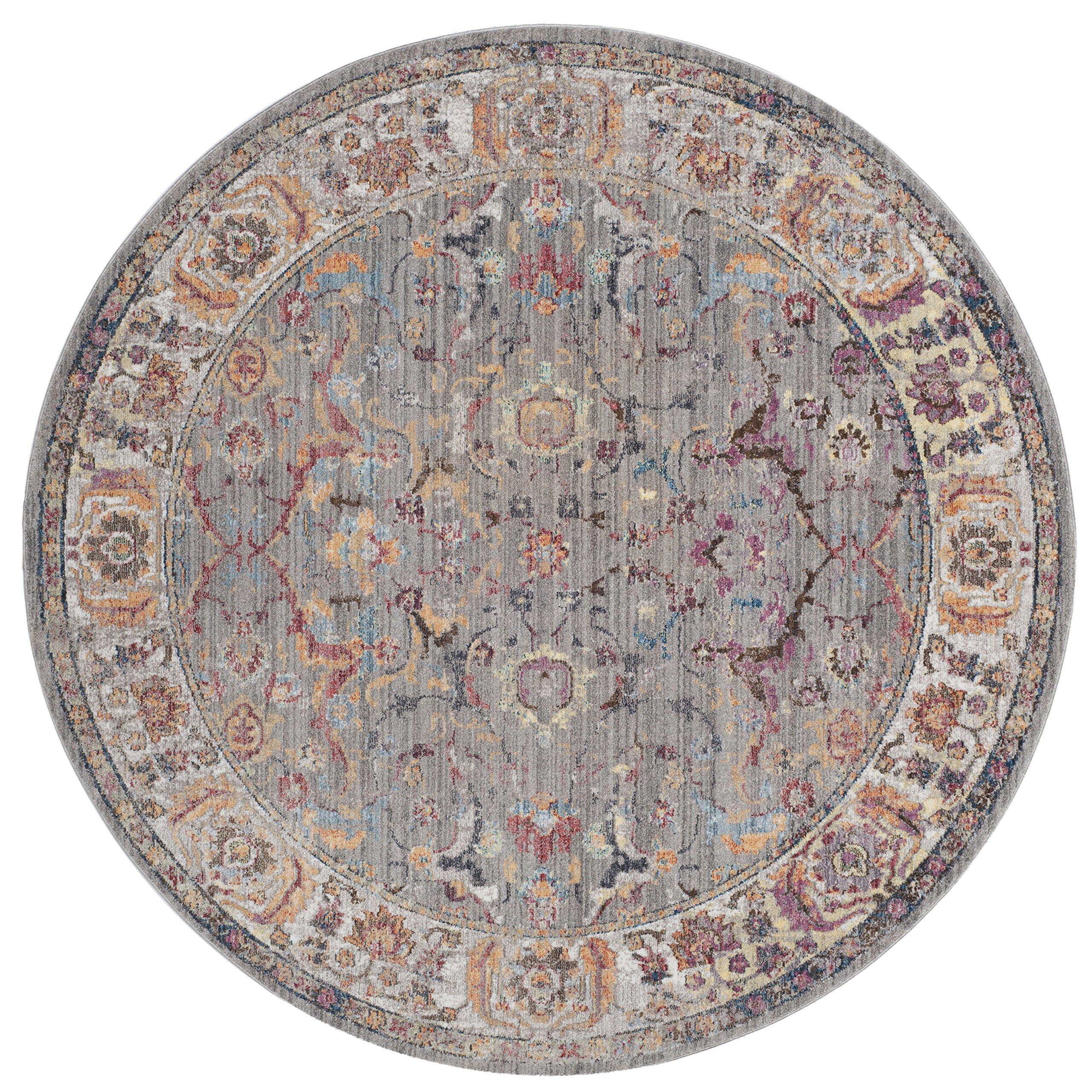 Safavieh Bristol Collection BTL362A Grey and Light Grey Vintage Oriental Distressed Round Area Rug (7' Diameter)