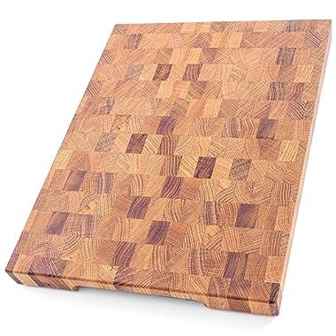 Daddy Chef End Grain Wood cutting board - Wood Chopping block - Large cutting board 16 x 12 Kitchen butcher block Oak cutting board non slip cutting board with feet - Kitchen Wooden chopping board …