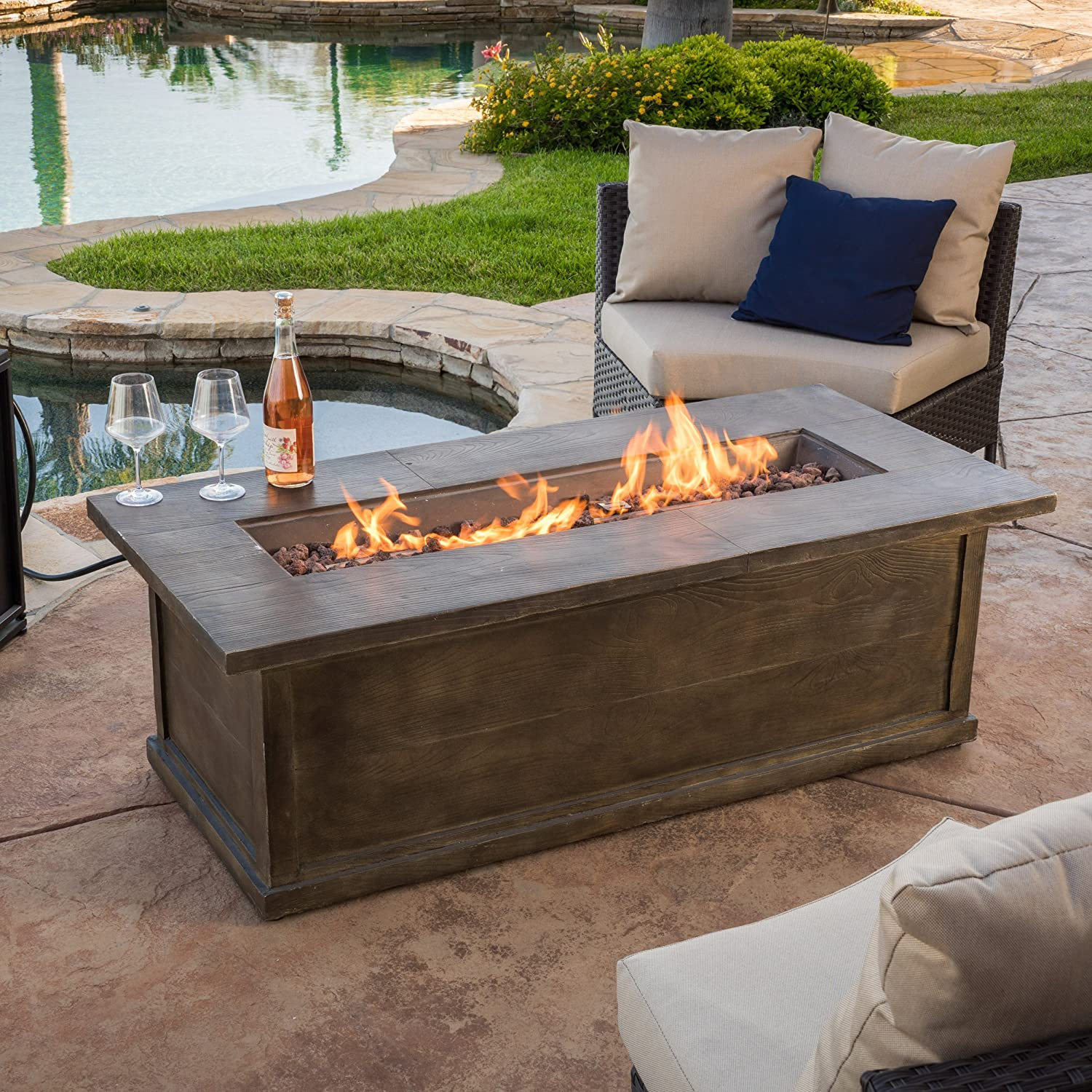 Amazon outdoor great room montego crystal fire pit coffee pablo 56 brown rectangular liquid propane fire table geotapseo Choice Image