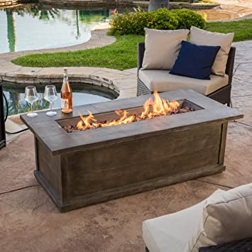 Pablo 56u0026quot; Brown Rectangular Liquid Propane Fire Table
