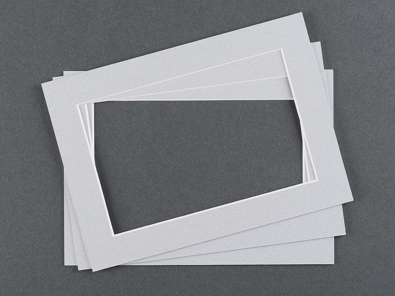 Art& More Passepartout 3er Set Hellgrau 13x18 cm mit Ausschnitt für 10x15 cm Bilder, Fotos für Bilderrahmen Fotos für Bilderrahmen