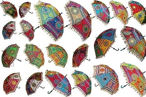 20 Pcs Lot Indian Cotton Fabric Mirror Work Vintage Parasol Wedding Umbrella Outdoor Decorations Handmade Embroidery Ethnic Umbrella Parasol