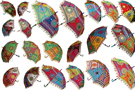 de94792791e9 5 Pcs Lot Indian Wedding Umbrella Decoration Handmade Embroidery Elephant  Umbrella Decorations Mirror Work Vintage Parasols Cotton Umbrellas