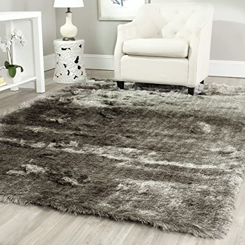 Safavieh Paris Shag Collection SG511-7575 Silver Polyester Area Rug 6 x 9
