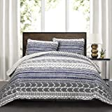 Lush Decor New Berlin Quilt Striped Pattern 3 Piece Bedding Set King Navy and White Triangle Home Fashions 16T000492