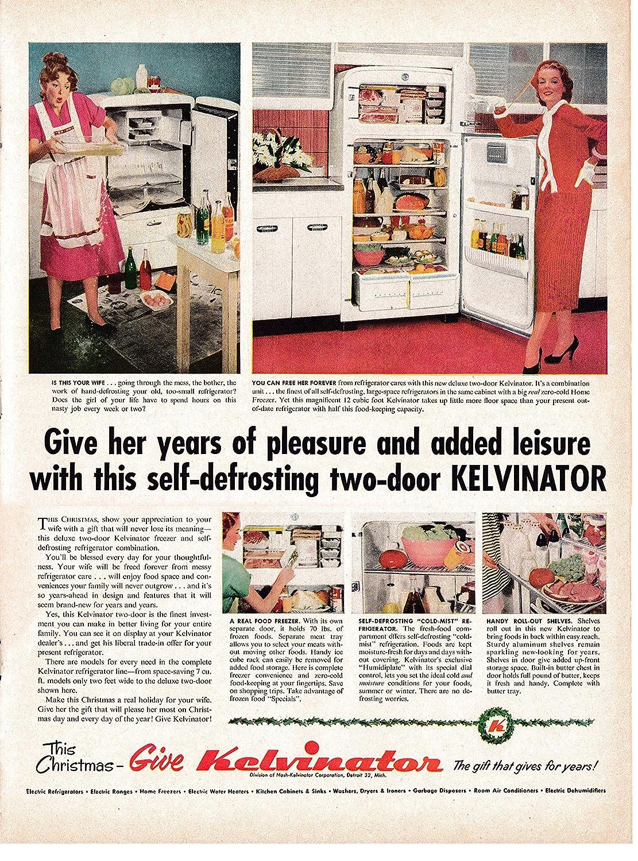 1953 Kelvinator 2 Door Refrigerator-Self Defrosting-Original 13.5 * 10.5 Magazine Ad