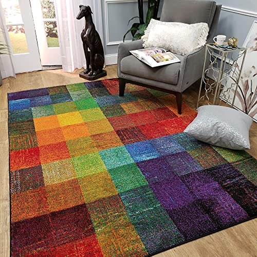 Frieze Soft Touch Area Rug Colorful Blocks 7'10″ x 9'10″