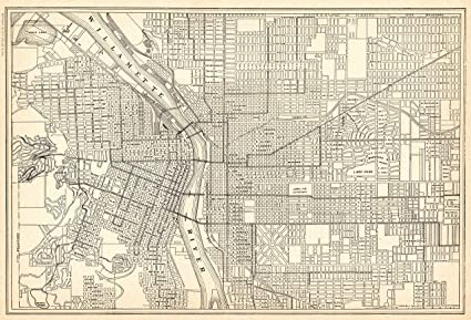 Vintage Oregon Map.Amazon Com 1926 Antique Portland Map Original Vintage Map Of