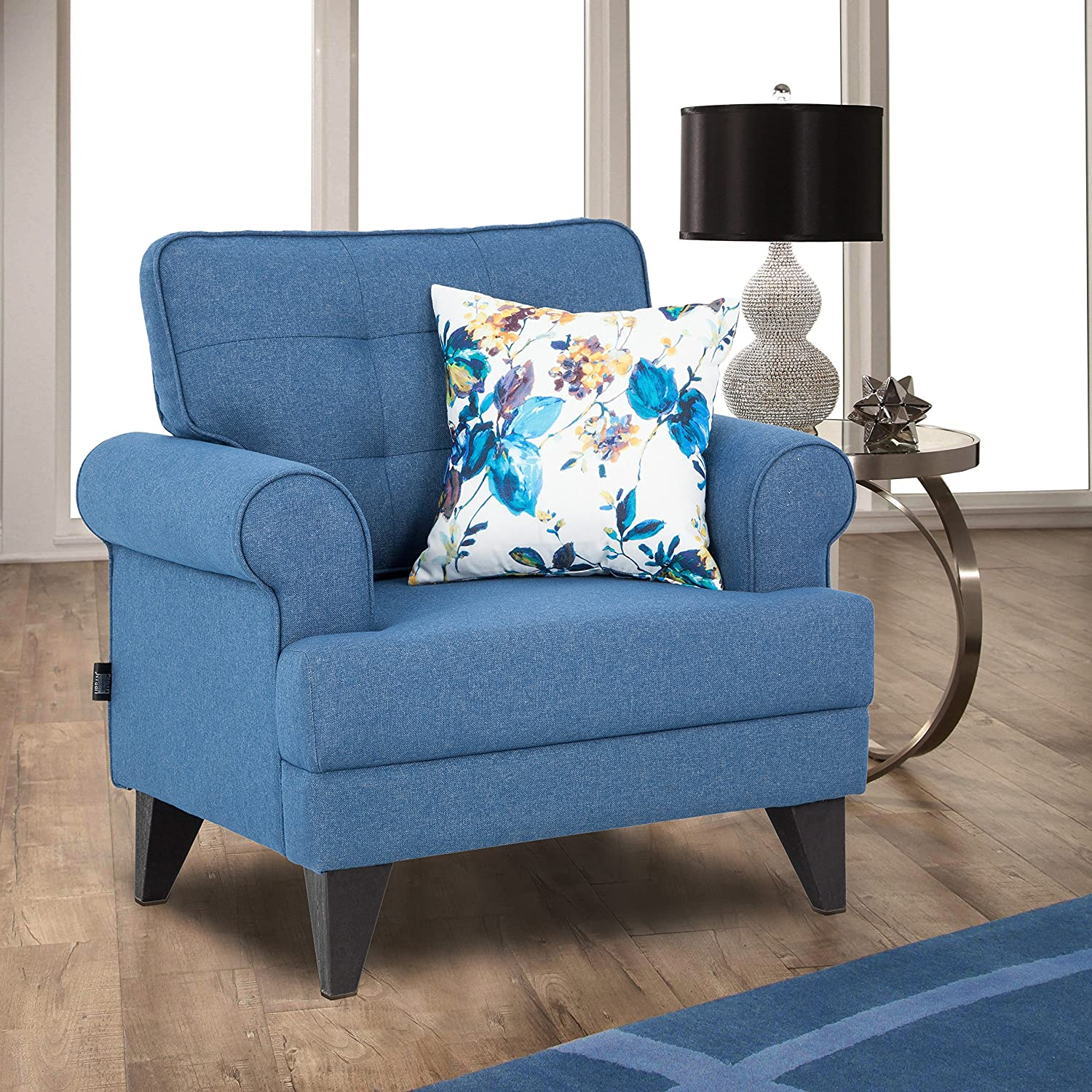 Hometown Pine Fabric Single Seater Sofa (Blue)