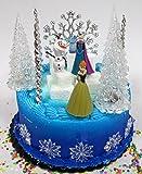 Winter Wonderland Princess Elsa Frozen Birthday Cake Topper Set Featuring Anna, Elsa, Olaf and Decorative Themed Accessories