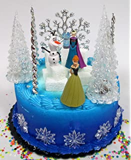 Amazoncom Frozen 23Piece Elsa and Anna Birthday Cake Topper Set