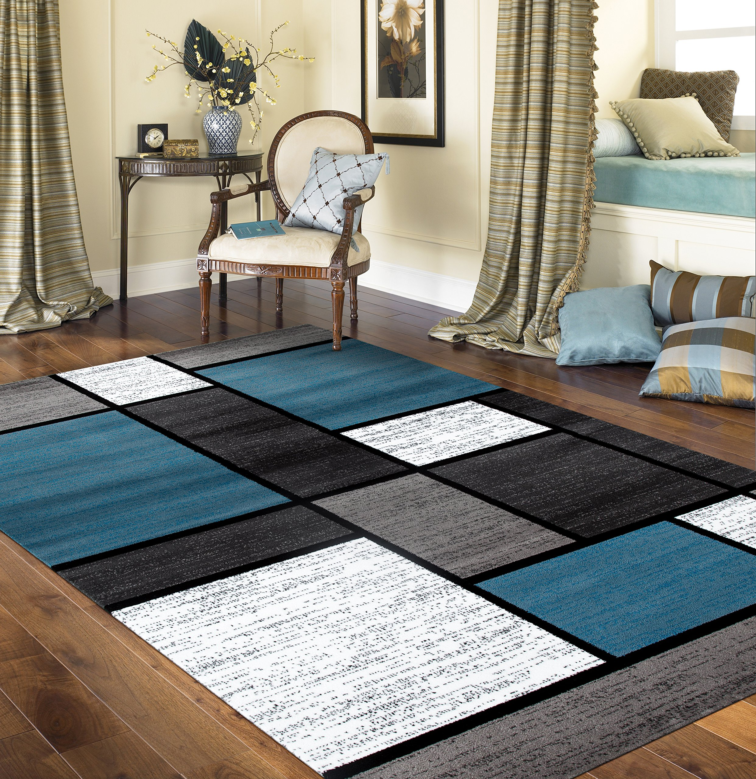 Rugshop Contemporary Modern Boxes Area Rug 9' X 12' Blue/Gray by Rugshop