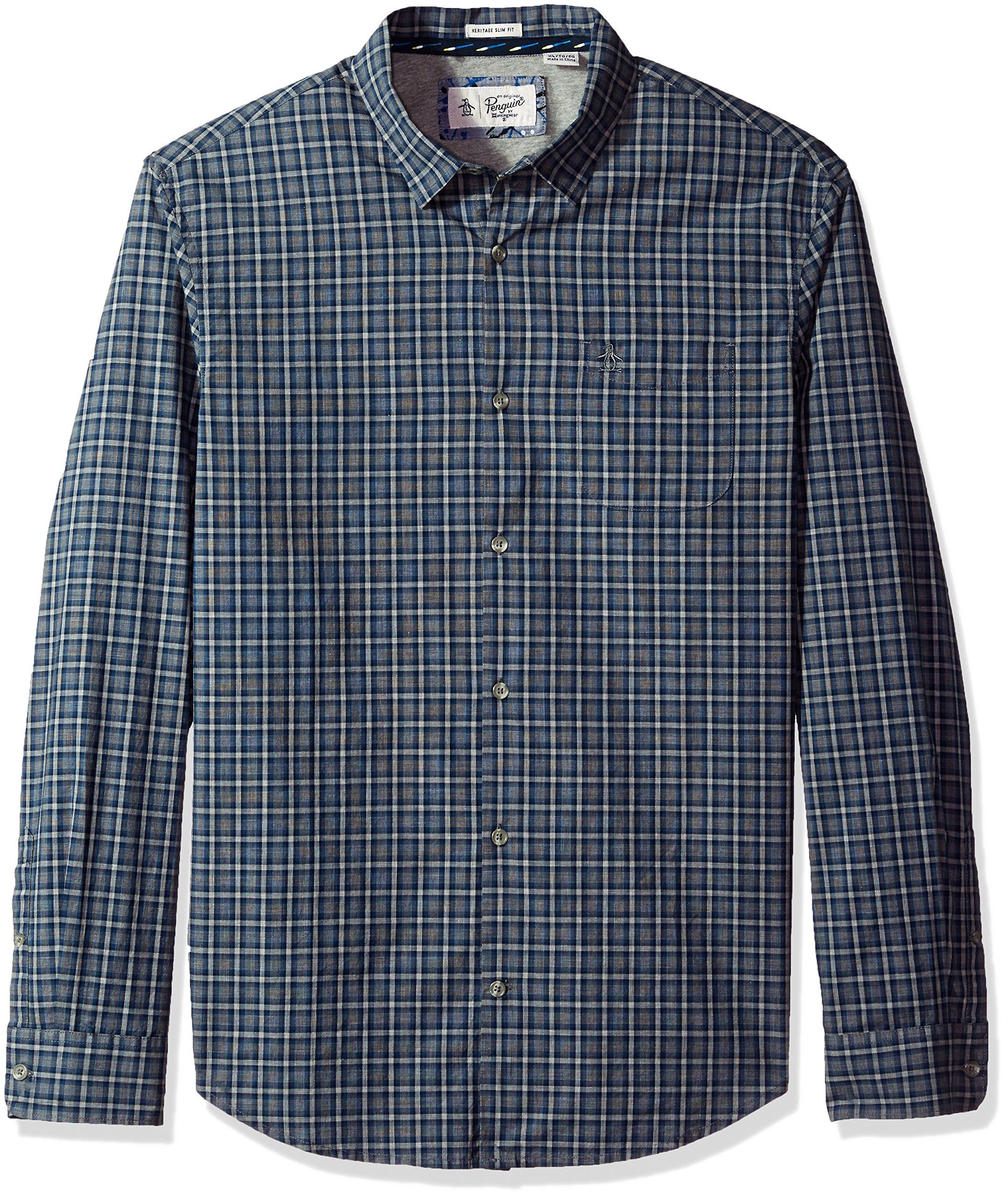Original Penguin Men's Heathered Plaid Dress Shirt, Snorkel Blue, Extra Large