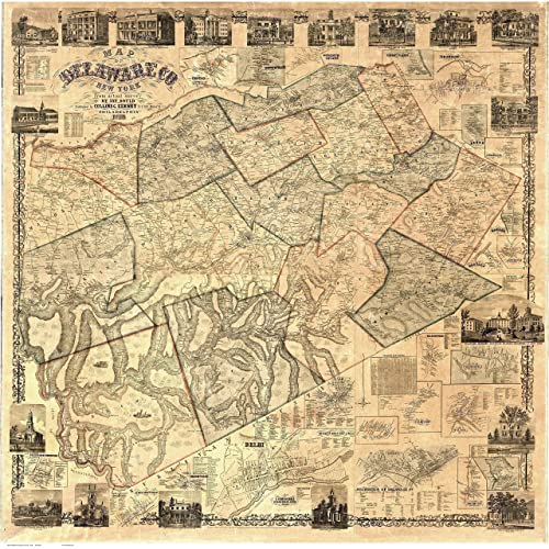 Counties In New York Map.Amazon Com Delaware County New York 1856 Wall Map With Homeowner