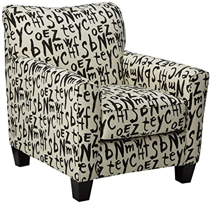 Marvelous Benchcraft Brindon Contemporary Black And White Scripted Accent Armchair Raven Alphanode Cool Chair Designs And Ideas Alphanodeonline
