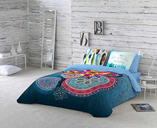 NATURALS Ariana Funda nórdica, algodón, Azul, Cama 135 cm: Amazon ...