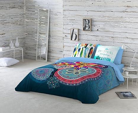 Últimas tendencias tiendas populares completo en especificaciones NATURALS Juego De Funda Nórdica Ariana Azul Cama 150 (240 x 220 cm + 2/45 x  90 cm)