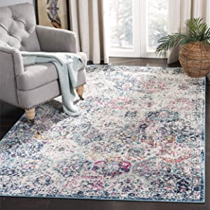 Safavieh Madison Collection MAD611N Boho Chic Vintage Distressed Area Rug, 9' x 12', Navy/Teal