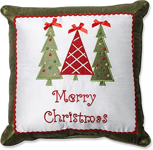 Pillow Perfect Merry Christmas Trees Throw Pillow, 16.5-Inch
