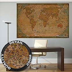 great-art Poster Historische Weltkarte - 140 x 100 cm Vintage Landkarte Wandposter Fotoposter Bildposter