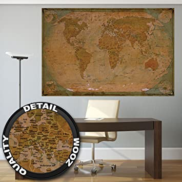 Historical world map poster xxl wall picture decoration globe historical world map poster xxl wall picture decoration globe antique vintage world map used atlas gumiabroncs Images