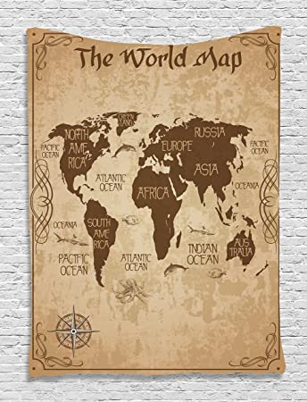 Amazon.com: Map Tapestry Decorative Wall World Map Decor Ideas ...