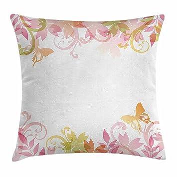Pastel manta almohada cojín por Ambesonne, diseño floral de ...