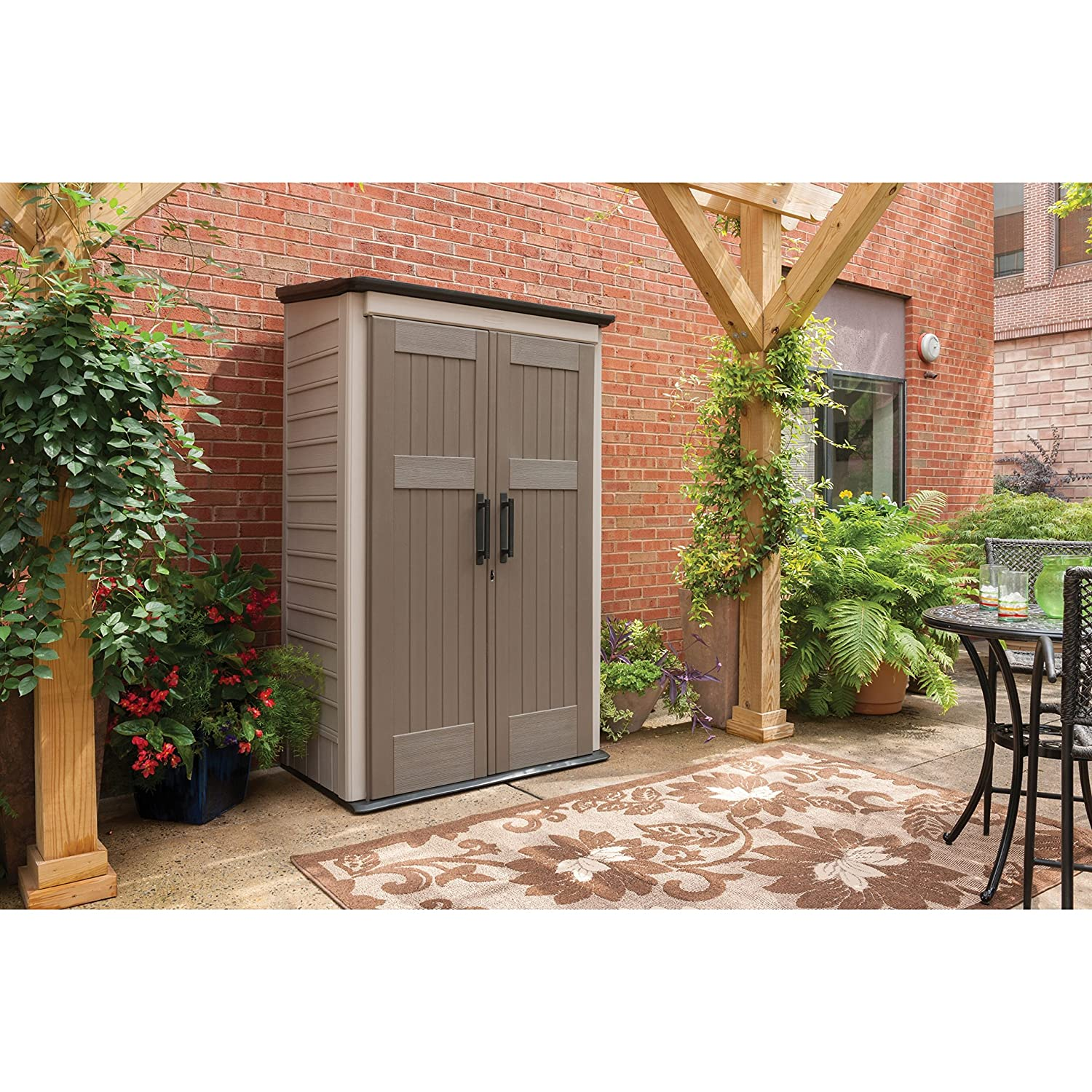 Rubbermaid Plastic Vertical Outdoor Storage Shed 52 cu ft