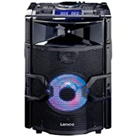 Lenco PMX-250 | Portable High Power DJ Mixer System and 200 Watt RMS Bluetooth Speaker with up to 10 hours Playtime, Adjustable Bass & Treble and Telescopic Handle with Wheels includes Remote Control & Wireless Microphone