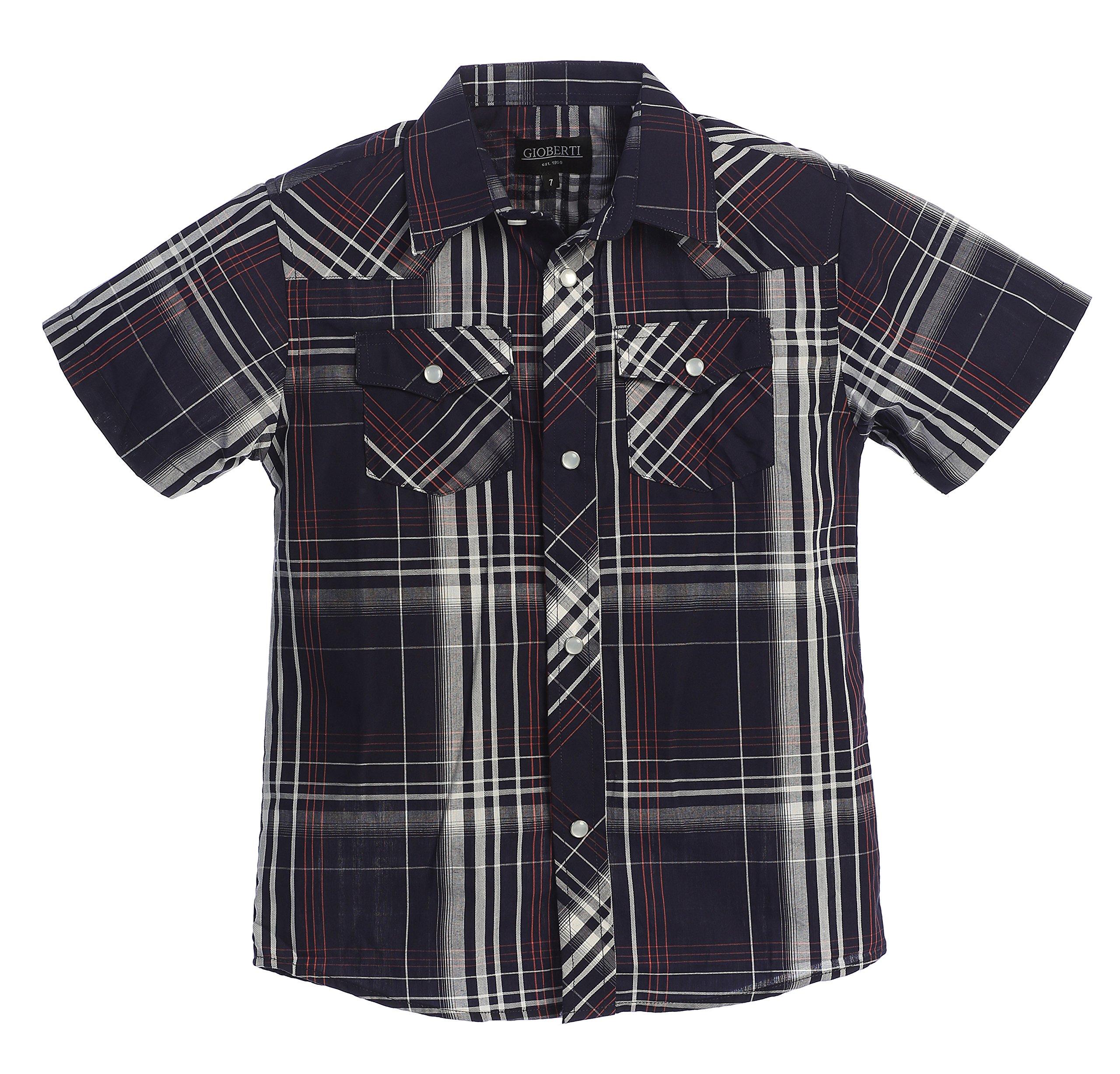 bebabc6a39a5c Gioberti Boys Casual Western Plaid Pearl Snap Short Sleeve Shirt product  image