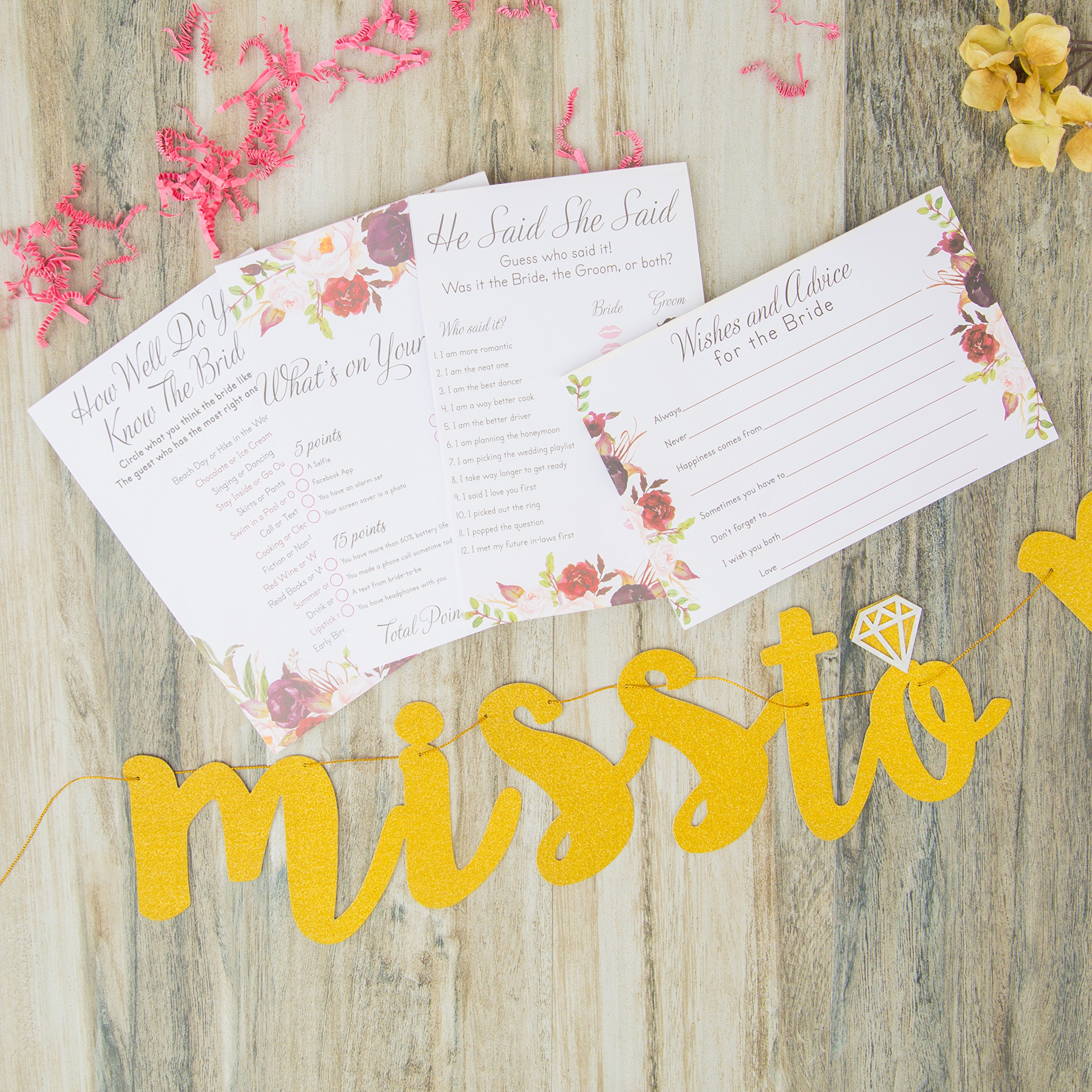 Bridal Shower Games pack with Bonus Miss to Mrs Banner (GOLD), Dots and Wedding Advice Cards | 3 Games - What's On Your Phone, He Said She Said, How Well Do You Know The Bride(50 Sheets each) by Planet Mango (Image #3)