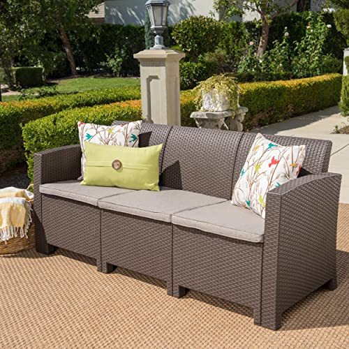 St. Pete Outdoor 3 Seater Brown Faux Wicker Rattan Style Sofa with Mixed Beige Water Resistant Cushions