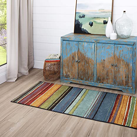 Amazon Com Mohawk Home New Wave Rainbow Stripe Runner Area Rug 2 X5 Multi Furniture Decor