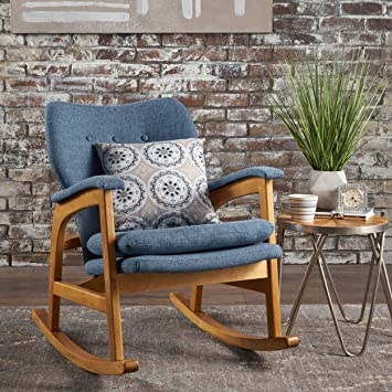 Superb Christopher Knight Home Bethany Mid Century Fabric Rocking Chair Muted Blue Ibusinesslaw Wood Chair Design Ideas Ibusinesslaworg