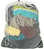 "Commercial Mesh Laundry Bag - 24"" x 36"" - Sturdy white mesh material with drawstring closure. Ideal machine washable mesh laundry bag for factories, college, dorm and apartment dwellers."