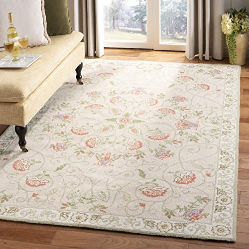 Safavieh Chelsea Collection HK330A Hand-Hooked Beige and Green Premium Wool Area Rug 8'9″ x 11'9″
