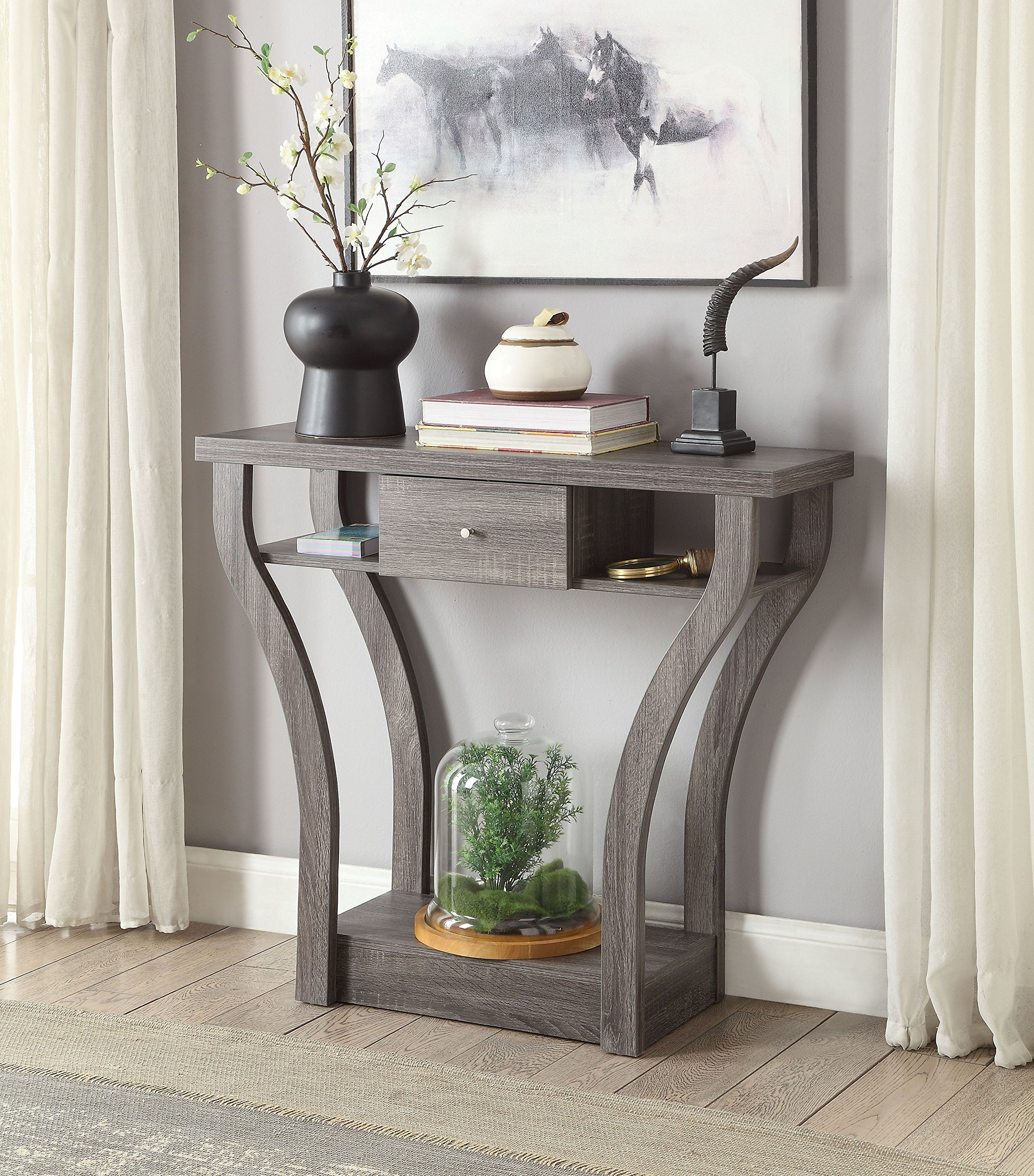 Weathered Grey Finish Curved Console Sofa Entry Hall Table with Shelf / Drawer