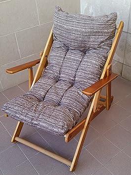 Fauteuil relax en bois pliable avec coussin rembourré gris taupe ...