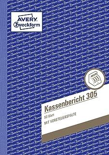 A4, Nach Steuerschiene 300, 2X40 Blatt Avery Zweckform 1756 Kassenbuch Wei//Ge
