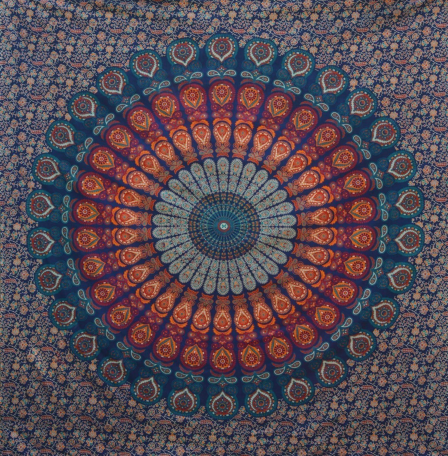 Craftozone Foglio di cotone arazzo multicolore Arazzo indiano Mandala Doppio 230X220 Cms Blu scuro
