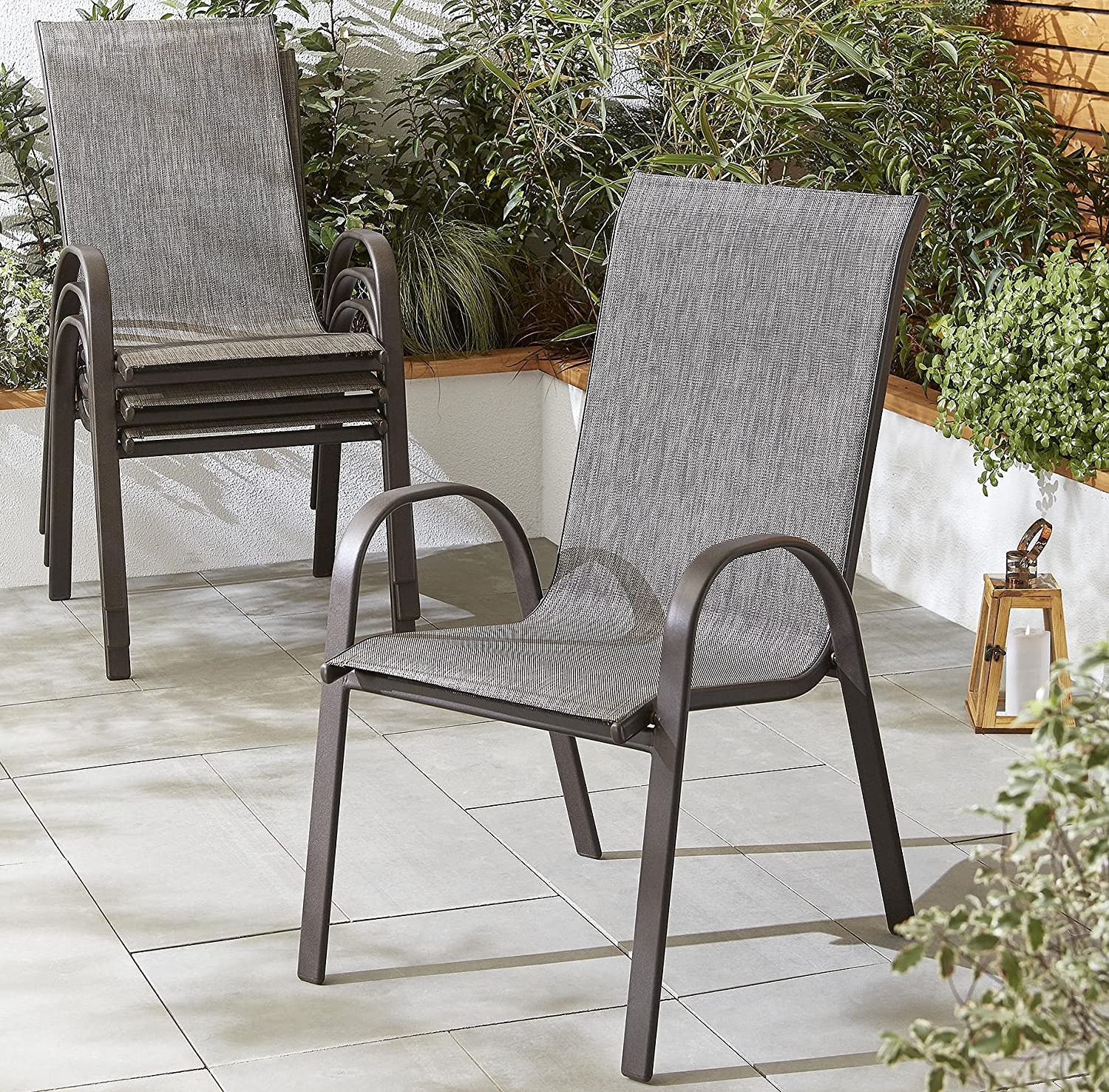 Tesco NEW Seville Steel Frame Stackable Garden Chair - (10 Pack