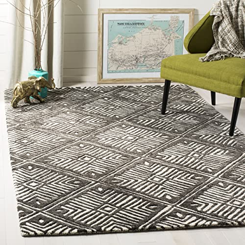 Safavieh Cambridge Collection Moroccan Geometric Handmade Square Area Rug, 6 , Ivory Charcoal